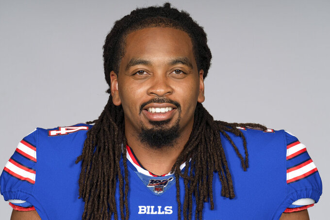 FILE - This is a 2019 file photo showing LaAdrian Waddle of the Buffalo Bills NFL football team.  A person with direct knowledge of the injury confirms to The Associated Press that Buffalo Bills offensive tackle LaAdrian Waddle has a torn right quadriceps and is expected to miss the season. The person spoke to the AP on the condition of anonymity Monday, Aug. 5, 2019, because the team hasn't revealed the severity of the injury. (AP Photo/File)