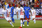 United States' Weston Mckennie celebrates after scoring a goal during the first half of a CONCACAF Gold Cup soccer match against Curacao, Sunday, June 30, 2019, in Philadelphia. The United States won 1-0. (AP Photo/Matt Slocum)