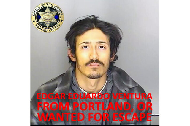 This undated booking photo released by the Merced County Sheriff's Office shows escapee inmate Edgar Eduardo Ventura, from Portland, Ore. Authorities in central California are searching for six inmates, including Ventura, who used a