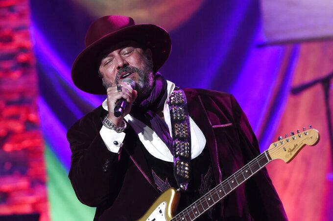Raul Malo of The Mavericks performs at the Americana Honors & Awards show Wednesday, Sept. 22, 2021, in Nashville, Tenn. (AP Photo/Mark Zaleski)