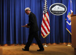 Special counsel Robert Mueller leaves the podium after speaking about the Russia investigation at the Department of Justice in Washington on Wednesday, May 29, 2019. (AP Photo/Carolyn Kaster)