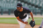 Detroit Tigers pitcher Michael Fulmer throws during an intrasquad baseball game, Wednesday, July 8, 2020, in Detroit. (AP Photo/Carlos Osorio)