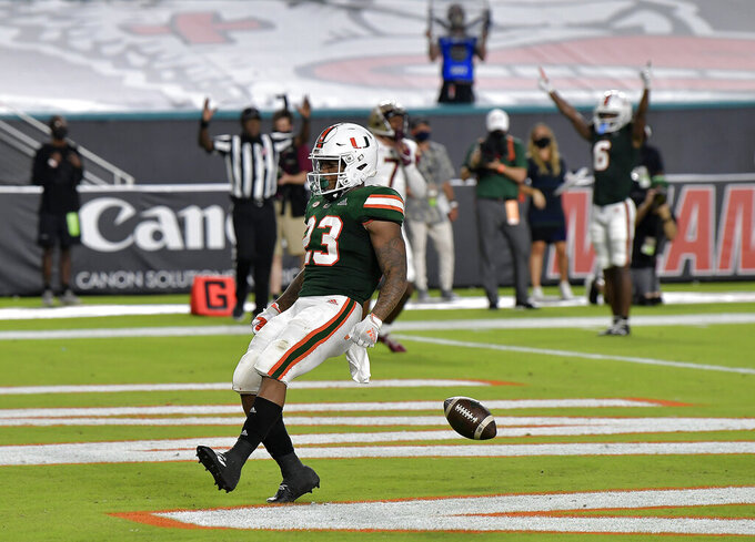 Miami running back Cam'Ron Harris scores a touchdown against Florida State during the first half of an NCAA college football game Saturday, Sept. 26, 2020, in Miami Gardens, Fla. (Michael Laughlin/South Florida Sun-Sentinel via AP)