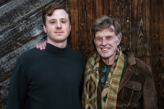 Director Dylan Redford, left, and his grandfather Robert Redford pose for a portrait to promote