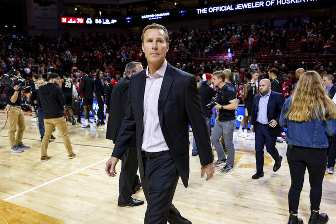 Nebraska head coach Fred Hoiberg walks across the court after their win against the Purdue in an NCAA college basketball game in Lincoln, Neb., Sunday, Dec. 15, 2019. (AP Photo/John Peterson)