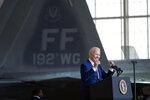 President Joe Biden speaks at Joint Base Langley-Eustis in Hampton, Va., Friday, May 28, 2021. (AP Photo/Patrick Semansky)