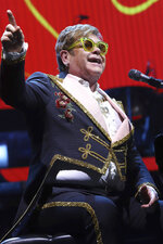 FILE - This March 5, 2019 file photo shows Elton John performing during his