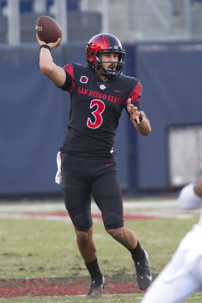 San Diego State quarterback Carson Baker throws a pass during the second half of an NCAA college football game against Hawaii Saturday, Nov. 14, 2020, in Carson, Calif. (AP Photo/Kyusung Gong)