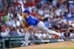 Toronto Blue Jays' Trent Thornton pitches against the Boston Red Sox during the first inning of a baseball game in Boston, Monday, July 15, 2019. (AP Photo/Michael Dwyer)