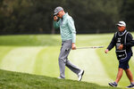 Justin Thomas walks to the fourth hole during the final round of the Zozo Championship golf tournament Sunday, Oct. 25, 2020, in Thousand Oaks, Calif. (AP Photo/Ringo H.W. Chiu)