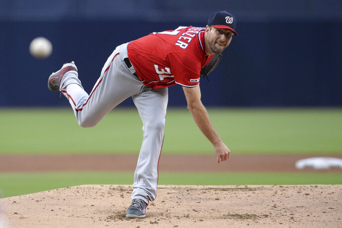 Washington Nationals starting pitcher Max Scherzer throws to a San Diego Padres batter during the first inning of a baseball game Saturday, June 8, 2019, in San Diego. (AP Photo/Orlando Ramirez)