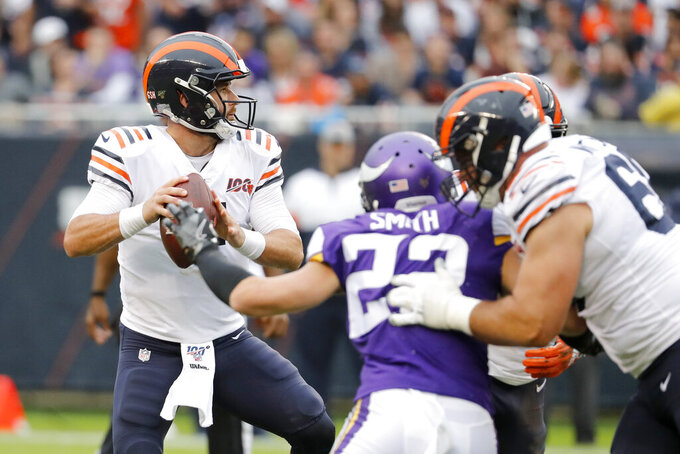 Chicago Bears quarterback Chase Daniel drops back to pass during the half of an NFL football game against the Minnesota Vikings Sunday, Sept. 29, 2019, in Chicago. (AP Photo/Jeff Roberson)