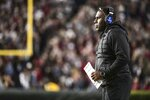 Vanderbilt coach Derek Mason watches from the sideline during the first half of the team's NCAA college football game against South Carolina on Saturday, Nov. 2, 2019, in Columbia, S.C. South Carolina defeated Vanderbilt 24-7. (AP Photo/Sean Rayford)