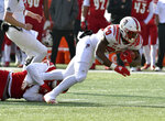 North Carolina State running back Ricky Person Jr. (20) is has his foot wrapped up by Louisville defensive lineman Tabarius Peterson (98) during the first half of an NCAA college football game, in Louisville, Ky., Saturday, Nov. 17, 2018. (AP Photo/Timothy D. Easley)