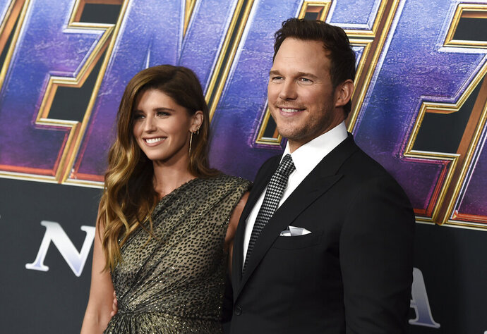 FILE - Katherine Schwarzenegger, left, and Chris Pratt arrive at the premiere of