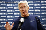 Seattle Seahawks head coach Pete Carroll speaks to members of the media following an NFL football game against the Carolina Panthers in Charlotte, N.C., Sunday, Dec. 15, 2019. (AP Photo/Brian Blanco)
