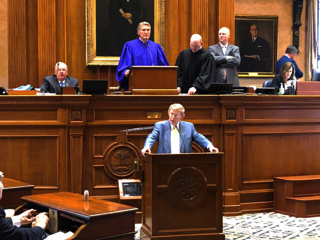 FILE - In this Jan. 9, 2019 file photo, New South Carolina Senate President Harvey Peeler listens as former Senate President Pro Tempore Hugh Leatherman speaks in Columbia, S.C.. South Carolina lawmakers return to the Statehouse on Tuesday, Jan. 14, 2020 for the 2020 session with an agenda that looks a lot like what they tried to tackle in 2019.(AP Photo/Jeffrey Collins)
