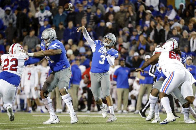 Memphis quarterback Brady White (3) passes against SMU in the first half of an NCAA college football game Saturday, Nov. 2, 2019, in Memphis, Tenn. (AP Photo/Mark Humphrey)