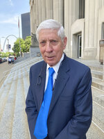 Special prosecutor Richard Callahan is seen leaving court in St. Louis, Thursday, June 17, 2021. Callahan, agreed to a plea deal allowing Mark and Patricia McCloskey to plead guilty to misdemeanors. The St. Louis couple who gained notoriety for pointing guns at social justice demonstrators last year has pleaded guilty to misdemeanor charges. Patricia McCloskey pleaded guilty Thursday to misdemeanor harassment and was fined $2,000. Her husband, Mark McCloskey, pleaded guilty to misdemeanor fourth degree assault and was fined $750. (AP Photo/Jim Salter)