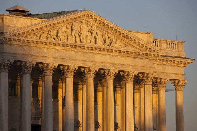 The Senate side of the U.S. Capitol at sunrise on Monday, Jan. 20, 2020, in Washington. The impeachment trial of President Donald Trump will resume in the U.S. Senate on Tuesday.  (AP Photo/Jon Elswick)