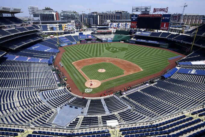An overall view of  Nationals Park during the Washington Nationals baseball practice, Wednesday, July 22, 2020, in Washington. (AP Photo/Nick Wass)