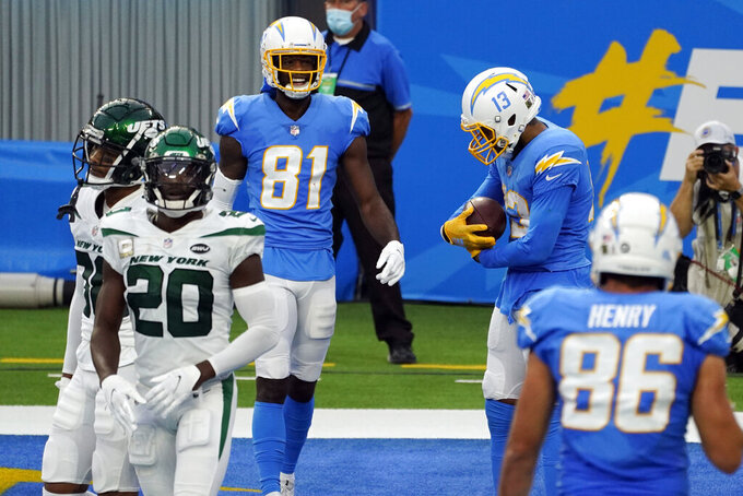Los Angeles Chargers wide receiver Keenan Allen, top right, catches a touchdown pass against the New York Jets during the second half of an NFL football game Sunday, Nov. 22, 2020, in Inglewood, Calif. (AP Photo/Jae C. Hong )