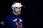 Chicago Bears head coach Matt Nagy walks onto the field before an NFL football game against the Philadelphia Eagles, Sunday, Nov. 3, 2019, in Philadelphia. (AP Photo/Matt Rourke)