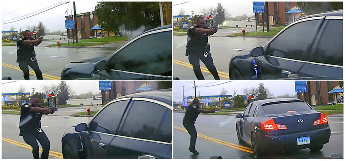 This sequential combination of images from police dash camera video released Friday, May 3, 2019, by the Hartford State's Attorney shows, from top left, Police Officer Layau Eulizier pointing his weapon at a car being driven at him by Anthony Jose Vega Cruz during an attempted traffic stop on April 20 in Wethersfield, Conn. Eulizier shot through the windshield, striking Vega Cruz, of Wethersfield, who died two days later at a hospital. (Hartford State's Attorney via AP)
