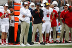 Florida Atlantic head coach Lane Kiffin, left, watches his team during the first half of an NCAA college football game against Ohio State, Saturday, Aug. 31, 2019, in Columbus, Ohio. (AP Photo/Jay LaPrete)