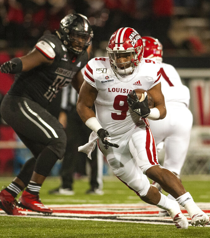 Louisiana-Lafayette running back Trey Ragas carries against Arkansas State during an NCAA college football game Thursday, Oct. 17, 2019, in Jonesboro, Ark. (Quentin Winstine/The Sun via AP)