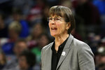 Stanford head coach Tara VanDerveer directs her team during the first half of a regional semifinal game against the Missouri State in the NCAA women's college basketball tournament, Saturday, March 30, 2019, in Chicago. (AP Photo/Kiichiro Sato)