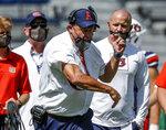 Auburn head coach Gus Malzahn reacts to a call during the second quarter of an NCAA college football game against Kentucky on Saturday, Sept. 26, 2020, in Auburn, Ala. (AP Photo/Butch Dill)