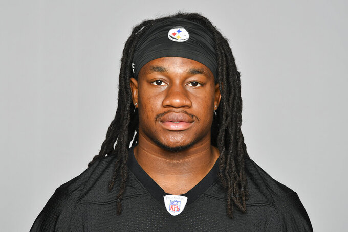 FILE - This is a  2019 file photo showing Trey Edmunds of the Pittsburgh Steelers NFL football team.  Ferrell and Felicia Edmunds can't lose. Nor can they be prouder when the Pittsburgh Steelers host the Buffalo Bills on Sunday night, Dec. 15. It's a game that will feature all three of the Edmunds' sons _ the Steelers' Terrell and Trey Edmunds and the Bills' Tremaine _ facing off against each other. (AP Photo/File)