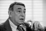 FILE - In this Feb. 14, 1985, file photo, Howard Cosell speaks in his ABC-TV office in New York. One of a kind as an announcer, Cosell was the rare analyst who never played or coached the game. (AP Photo/Richard Drew, File)