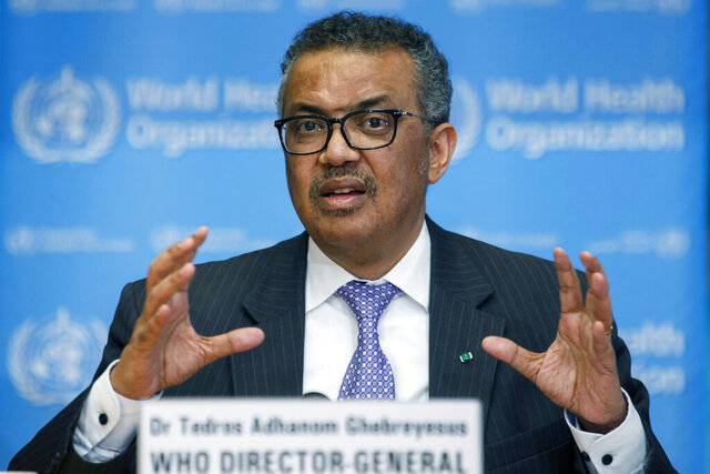 "FILE - In this Monday, March 9, 2020 file photo, Tedros Adhanom Ghebreyesus, Director General of the World Health Organization speaks during a news conference, at the WHO headquarters in Geneva, Switzerland. Ghebreyesus says that he is ""disappointed"" that Chinese officials haven't finalized permissions for the arrival of a team of experts into China to examine origins of COVID-19. In a rare critique of Beijing, he said on Tuesday, Jan. 5, 2021 members of the international scientific team have begun over the last 24 hours to leave from their home countries to China as part of an arrangement between WHO and the Chinese government. (Salvatore Di Nolfi/Keystone via AP, file)"