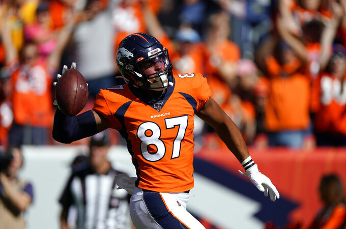 Denver Broncos tight end Noah Fant celebrates after scoring a touchdown during the first half of an NFL football game against the Jacksonville Jaguars, Sunday, Sept. 29, 2019, in Denver. (AP Photo/Jack Dempsey)