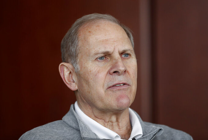 Michigan head basketball coach John Beilein talks in his office in Ann Arbor, Mich., Tuesday, Feb. 19, 2019. Beilein and Michigan State's Tom Izzo are friendly rivals, whose highly ranked NCAA college basketball teams will play for the first time this season on Sunday at Crisler Arena. As much as Beilein and Izzo genuinely like and respect each other, the highly competitive coaches want to win. (AP Photo/Paul Sancya)