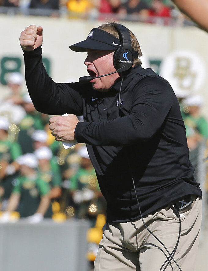 TCU head coach Gary Patterson reacts to a call in the first half of an NCAA college football game against TCU, Saturday, Nov. 17, 2018, in Waco, Texas. (Jerry Larson/Waco Tribune Herald, via AP)