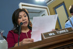 House Rules Committee member Rep. Norma Torres, D-Calif., argues a point as the panels holds a markup of the resolution that will formalize the next steps in the impeachment inquiry of President Donald Trump, at the Capitol in Washington, Wednesday, Oct. 30, 2019. Democrats have been investigating Trump's withholding of military aid to Ukraine as he pushed the country's new president to investigate Democrats and the family of rival presidential contender Joe Biden. (AP Photo/J. Scott Applewhite)