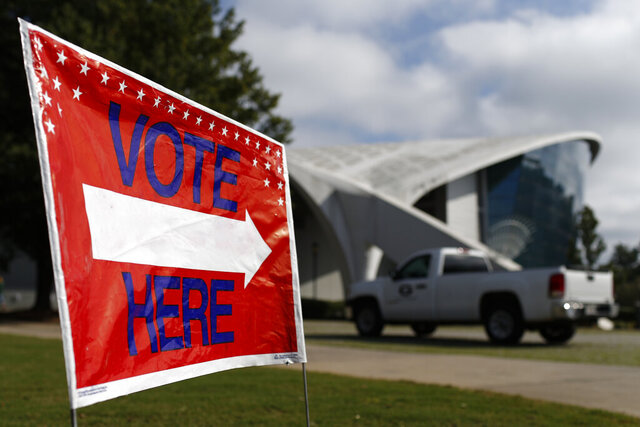 Stegeman Coliseum on the campus of the University of Georgia opened for early voting on Tuesday, Oct. 27, 2020 in Athens, Ga. The Coliseum will be open Oct. 27-29 to all Clarke County voters for early voting. (Joshua L. Jones /Athens Banner-Herald via AP)