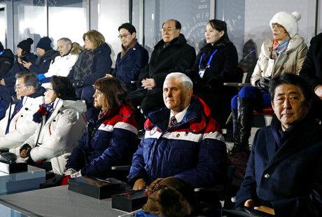 Mike Pence, Karen Pence, Shinzo Abe, Kim Yong Nam, Kim Yo Jong