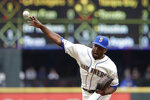 Seattle Mariners relief pitcher Reggie McClain throws against the Oakland Athletics in the third inning of a baseball game Sunday, Sept. 29, 2019, in Seattle. (AP Photo/Elaine Thompson)