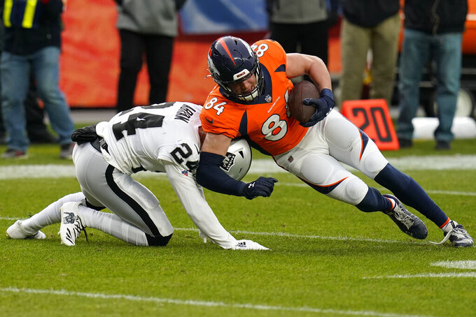 Denver Broncos tight end Troy Fumagalli (84) runs against Las Vegas Raiders strong safety Johnathan Abram (24) during the first half of an NFL football game, Sunday, Jan. 3, 2021, in Denver. (AP Photo/Jack Dempsey)