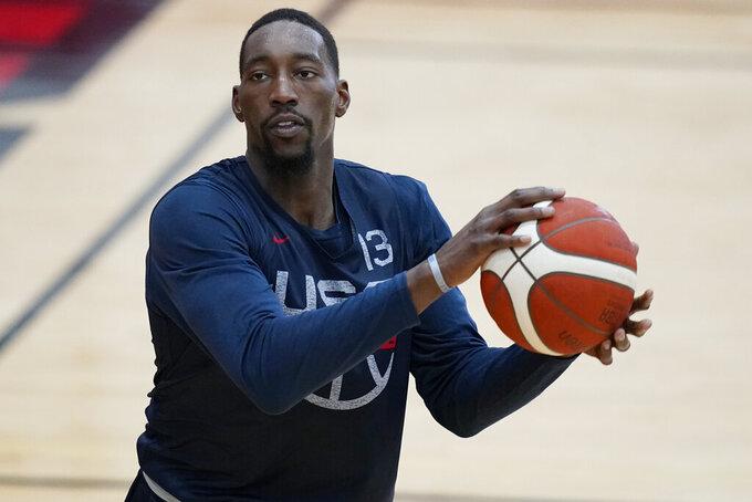 Bam Adebayo prepares to shoot during training for USA Basketball, Tuesday, July 6, 2021, in Las Vegas. (AP Photo/John Locher)