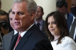 House Minority Leader Kevin McCarthy of Calif., speaks with reporters, joined by newly-elected House Republican Conference Chair Rep. Elise Stefanik, R-N.Y., on Capitol Hill Friday, May 14, 2021, in Washington. Republicans voted Friday morning for Stefanik to be the new chair for the House Republican Conference, replacing Rep. Liz Cheney, R-Wyo., who was ousted from the GOP leadership for criticizing former President Donald Trump. (AP Photo/Alex Brandon)