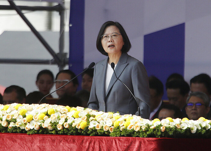 Taiwan President Tsai Ing-wen delivers a speech during National Day celebrations in front of the Presidential Building in Taipei, Taiwan, Thursday, Oct. 10, 2019. In the national day address, President Tsai said China was threatening the island