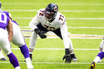 FILE- In this Dec. 20, 2020, file photo, Chicago Bears offensive tackle Charles Leno Jr. (72) readies at the line of scrimmage in the first quarter of an NFL football game against the Minnesota Vikings in Minneapolis.  The Washington Football Team signed the offensive tackle. (AP Photo/David Berding, File)