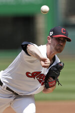 Cleveland Indians starting pitcher Shane Bieber delivers in the first inning in a baseball game against the Boston Red Sox, Wednesday, Aug. 14, 2019, in Cleveland. (AP Photo/Tony Dejak)
