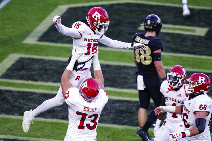 Rutgers wide receiver Shameen Jones (15) celebrates a touchdown against Purdue during the first quarter of an NCAA college football game in West Lafayette, Ind., Saturday, Nov. 28, 2020. (AP Photo/Michael Conroy)