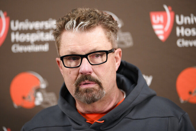 FILE - In this Dec. 30, 2018, file photo, Cleveland Browns head coach Gregg Williams speaks at a news conference after an NFL football game against the Baltimore Ravens, in Baltimore. Gregg Williams has been hired, Wednesday, Jan. 16, 2019, as the New York Jets' defensive coordinator, the first major staff addition by Adam Gase since he became coach. (AP Photo/Nick Wass, File)